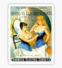 Two women in bedroom together with electric corset Sticker