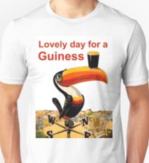Lovely day for a beer, exotic parrot with a mug, vintage label, sticker T-Shirt