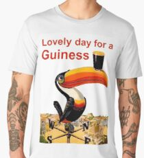 Lovely day for a beer, exotic parrot with a mug, vintage label, sticker Men's Premium T-Shirt