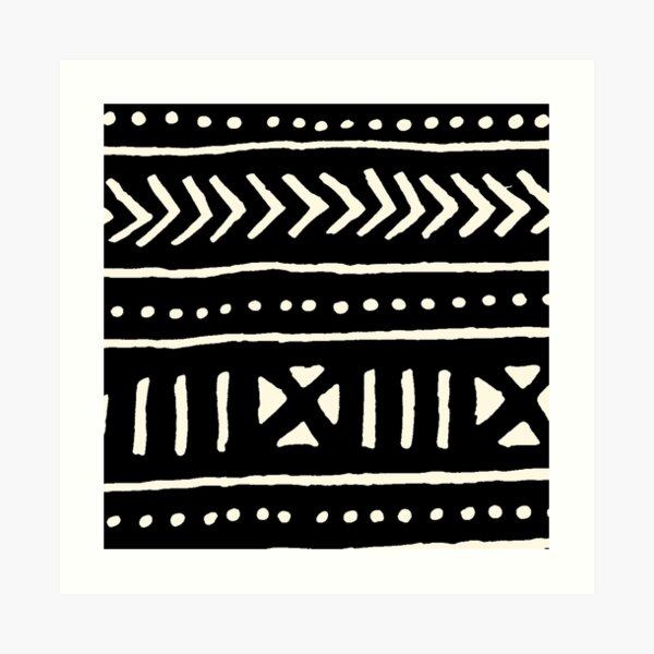 circuit Mud Cloth PRINT African  Fabric black and white 7