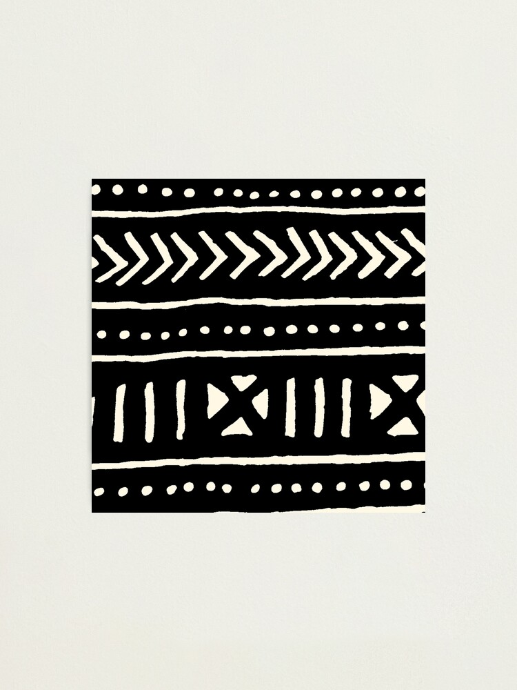 black and white Mud Cloth PRINT African  Fabric 16