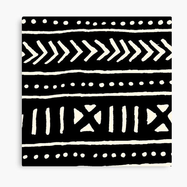 african mud cloth black and white Canvas Print