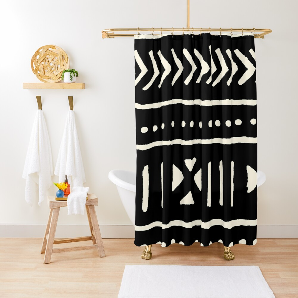 african mud cloth black and white Shower Curtain