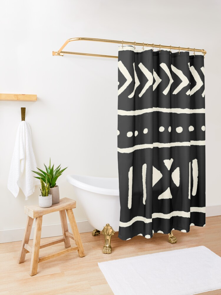 Alternate view of african mud cloth black and white Shower Curtain