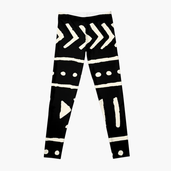 african mud cloth black and white Leggings