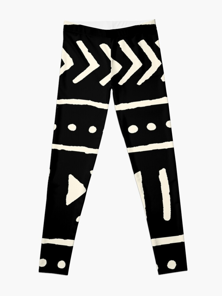 Alternate view of african mud cloth black and white Leggings