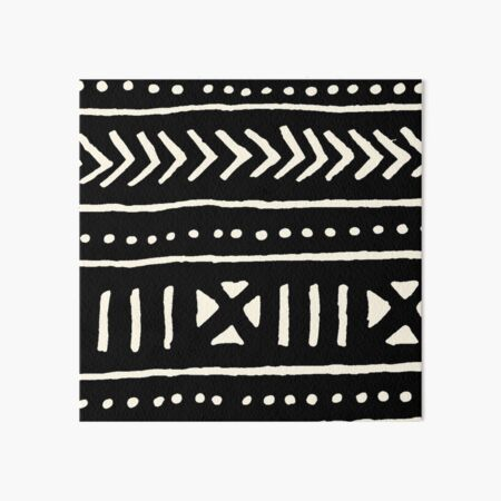 african mud cloth black and white Art Board Print