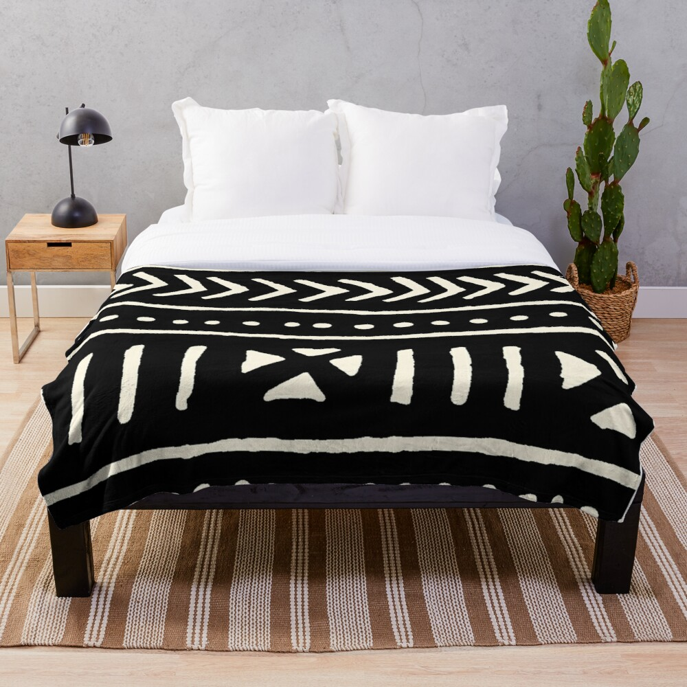 african mud cloth black and white Throw Blanket