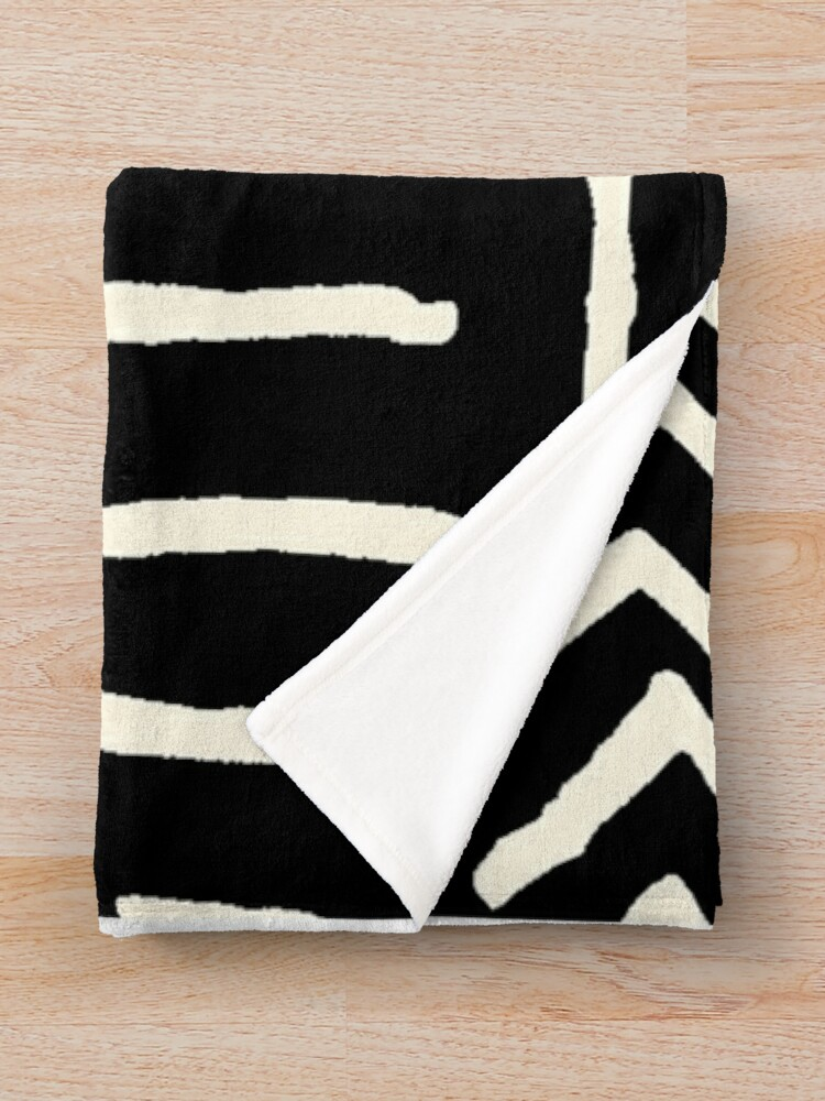 Alternate view of african mud cloth black and white Throw Blanket