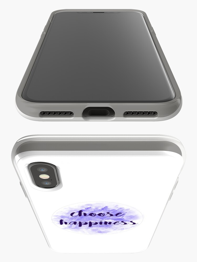 Alternate view of choose happiness sticker | purple watercolor design iPhone Case & Cover