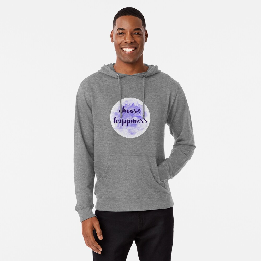 choose happiness sticker | purple watercolor design Lightweight Hoodie