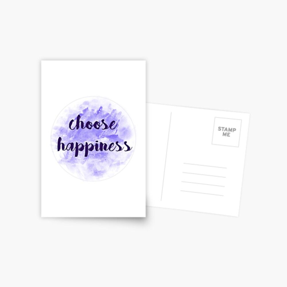 choose happiness sticker   purple watercolor design Postcard