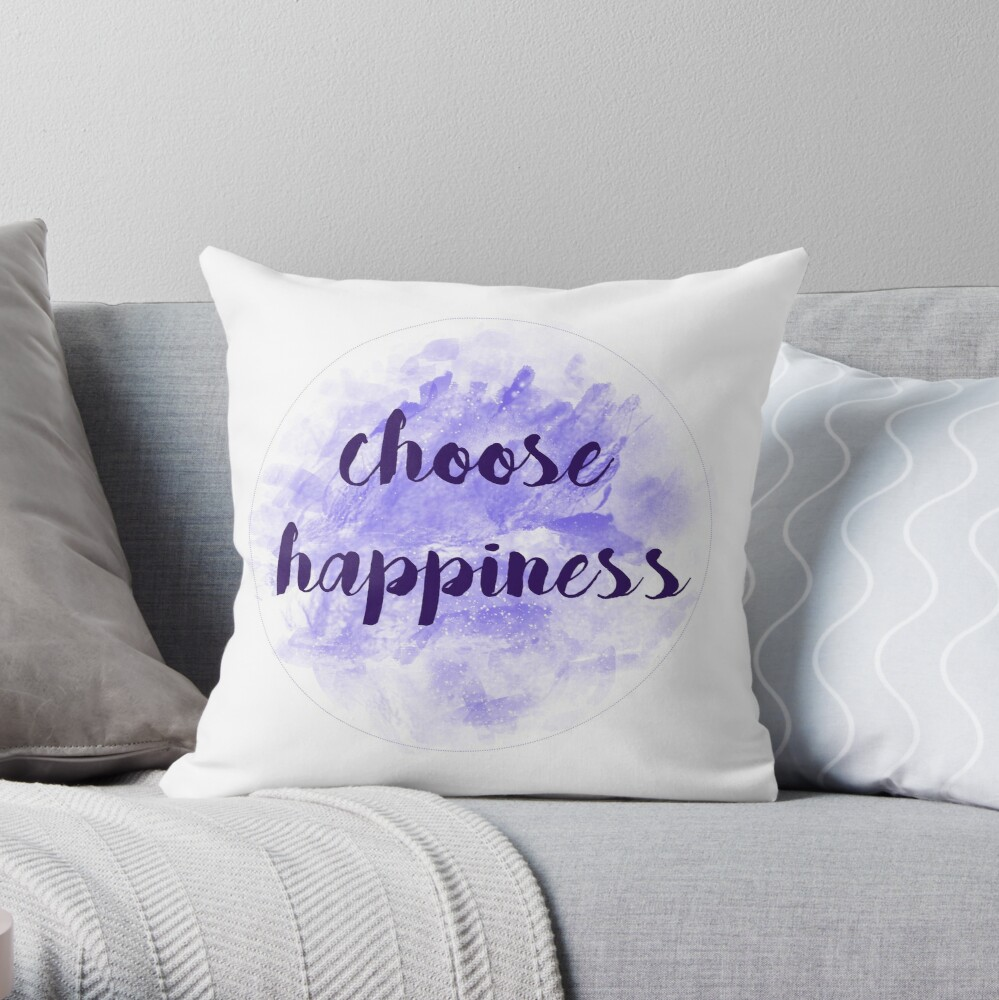 choose happiness sticker | purple watercolor design Throw Pillow