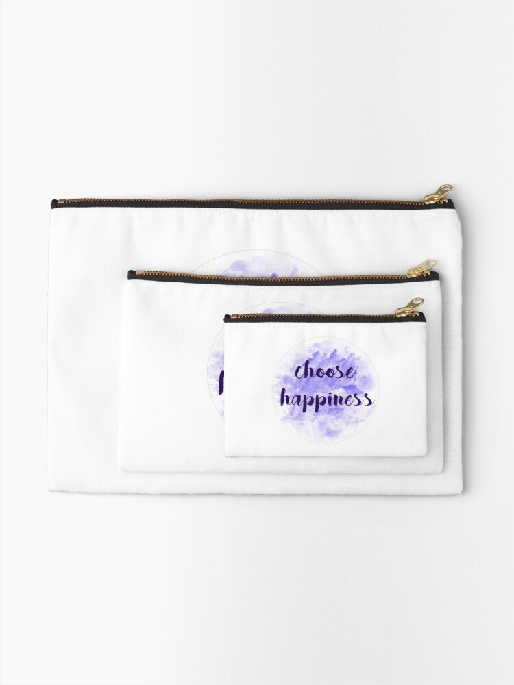 Alternate view of choose happiness sticker | purple watercolor design Zipper Pouch