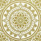 White & Gold Patterned Flower Mandala by ImageMonkey