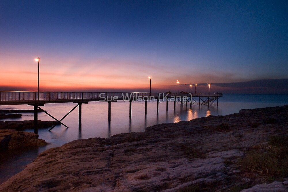 Jetty at sunset by Sue Wilson (Kane)