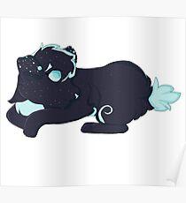 Blue and Black Dog Furry Fursona Poster