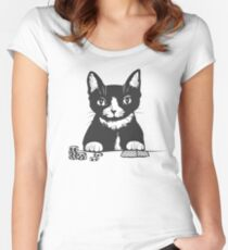Poker Cat Face Women's Fitted Scoop T-Shirt