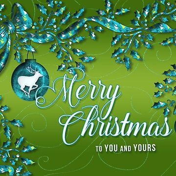 Turquoise Blue and Sage Green Christmas with Reindeer by SalonOfArt