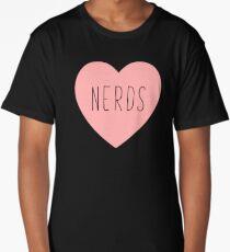 I Love Nerds Heart | Nerd Long T-Shirt