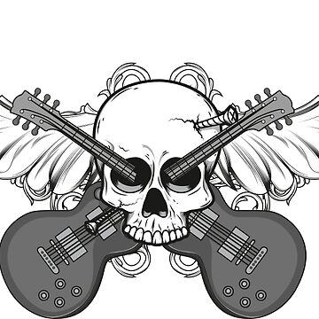 Nailed Rock Schädel mit Flügeln und Gitarren von dynamitfrosch