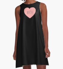 I Love Math Heart A-Line Dress
