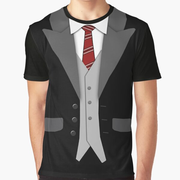 Black Suit Red Tie and Vest Graphic T-Shirt