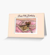 Happy 30th Birthday card, greyhound dog on the bed Greeting Card