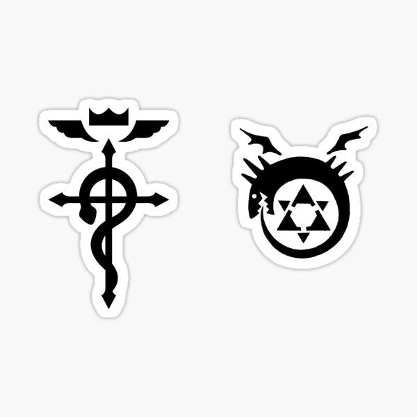 Fullmetal Alchimiste Ouroboros + Flamel noir Sticker