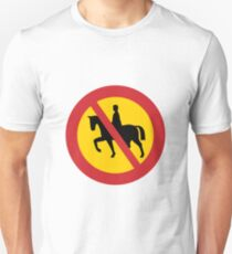 No Horses Road Sign T-Shirt