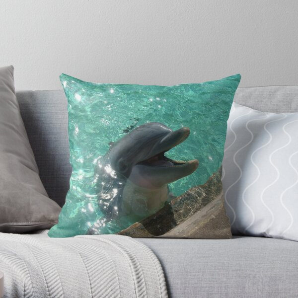 Happy Dolphin! Throw Pillow