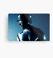 LEATHER IN BLUE Metal Print