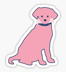 Preppy Pink Retriever Puppy Dog Sticker