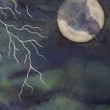 Stormy Sky Painting with Moon and Lightning by emederart
