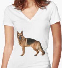 German Shepherd Women's Fitted V-Neck T-Shirt