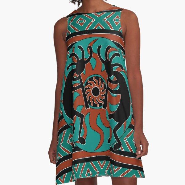 Teal Black And Brown Kokopelli Southwest Design A-Line Dress
