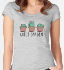 CATcus cactus cat plant garden hipster kitty Women's Fitted Scoop T-Shirt