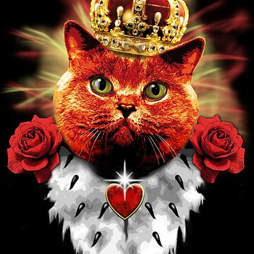 Red Roses grumpy cat queen crown red cat crown by Margarita-Art
