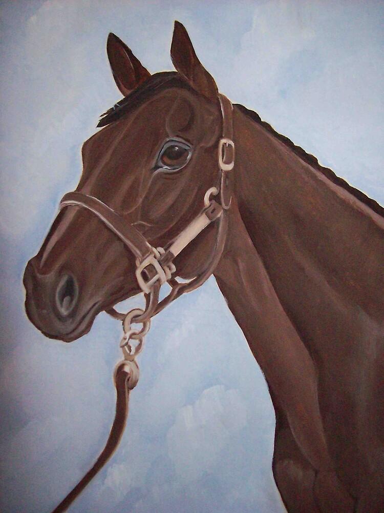 Racehorse Montana horse portrait oil painting by coolart