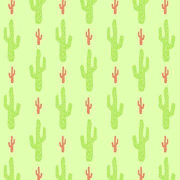 Patrón de cactus verde y rojo de EuGeniaArt