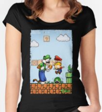 Super Calvin and Hobbes Bros. Women's Fitted Scoop T-Shirt