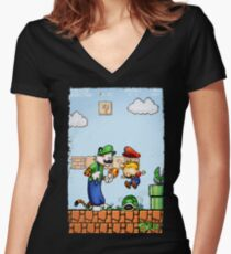 Super Calvin and Hobbes Bros. Women's Fitted V-Neck T-Shirt