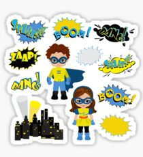 Colorful cartoon text captions.  Super Boy and Super Girl. Sticker