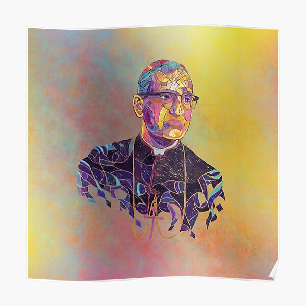 Óscar Romero | Yellow Stained Glass Poster