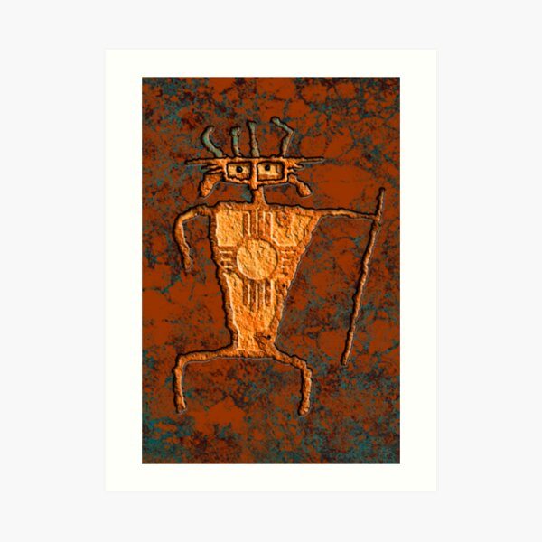 Kokopelli Art Poster Print Southwestern Primitive Petroglyph Artwork