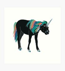 Black Unicorn Art Print