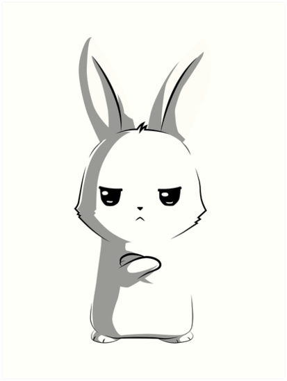 angry bunny art prints by digitize redbubble
