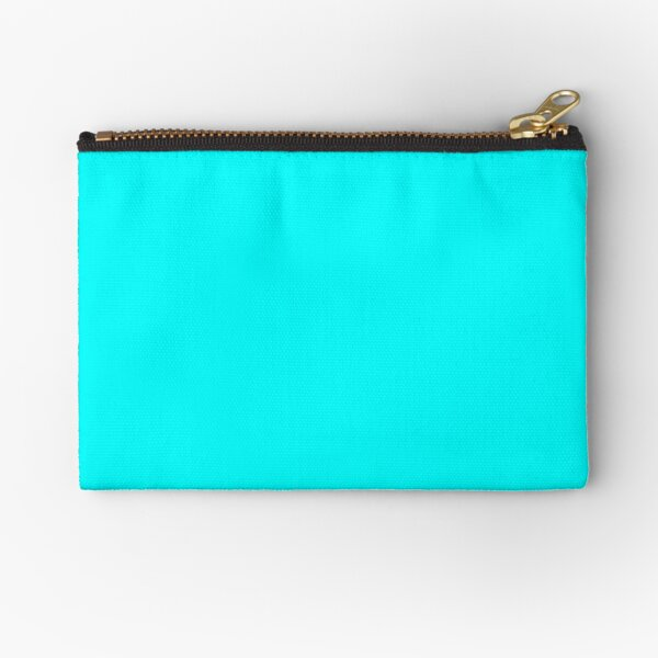 Cyan Simple Solid Designer Color All Over Color Zipper Pouch