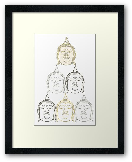 Oriental Buddha's Smile Zen Gold Silver And Grey Pop Art by fatfatin