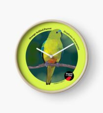 Orange-bellied Parrot - Small black text for light background Clock
